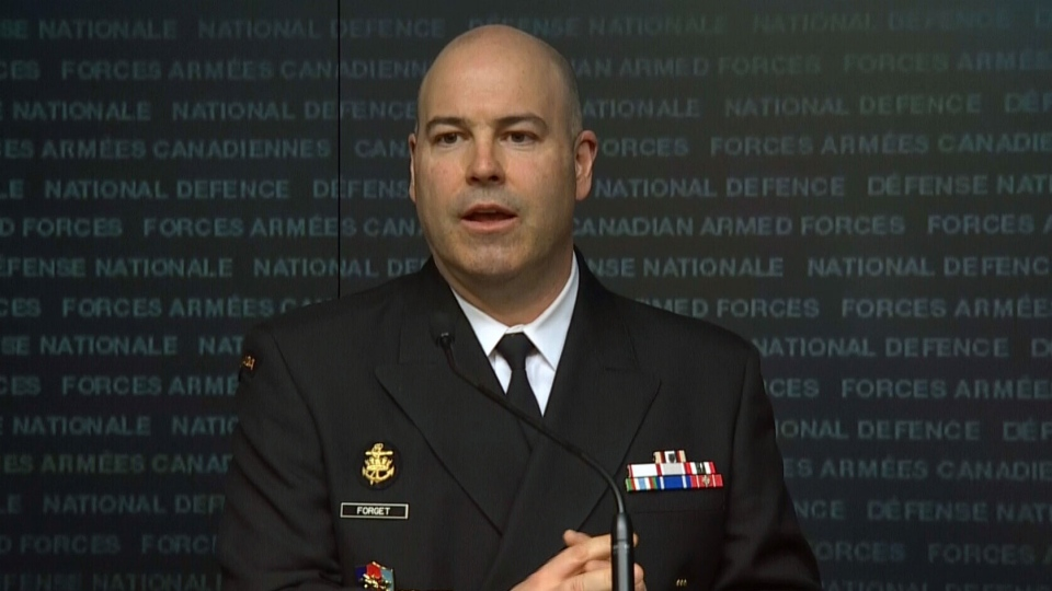 Capt. Paul Forget briefs reporters on Canada's mission in Iraq on Friday, March 20, 2015.