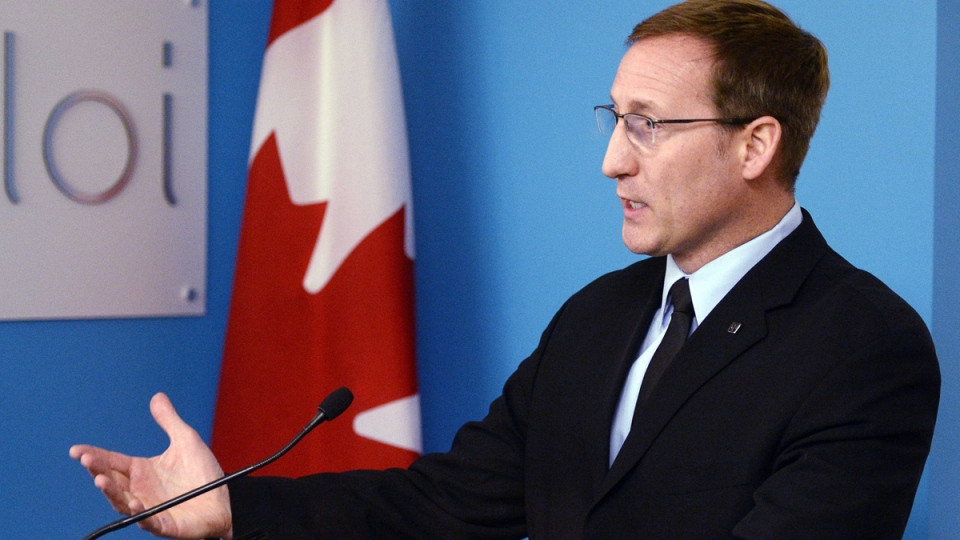 Federal Justice Minister Peter MacKay speaks to the media at a news conference in Montreal on Friday, March 20, 2015. (Ryan Remiorz / THE CANADIAN PRESS)