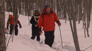 Mulcair snow shoeing