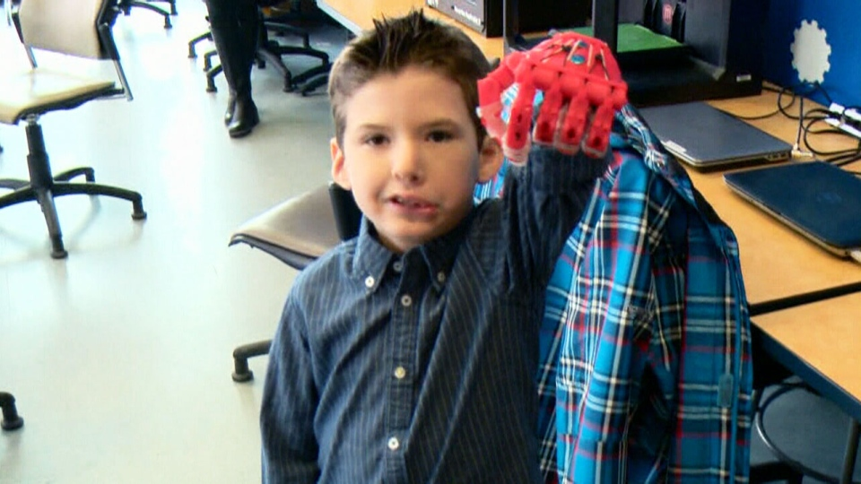 Six-year-old Sebastian Chavarria from Ottawa, Ont. received a new prosthetic hand thanks to a pair of University of Ottawa engineering students on Friday. (File photo)