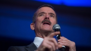 Canadian astronaut Chris Hadfield addresses the Vancouver Board of Trade in Vancouver, B.C. Friday, March 20, 2015. (Jonathan Hayward / THE CANADIAN PRESS)