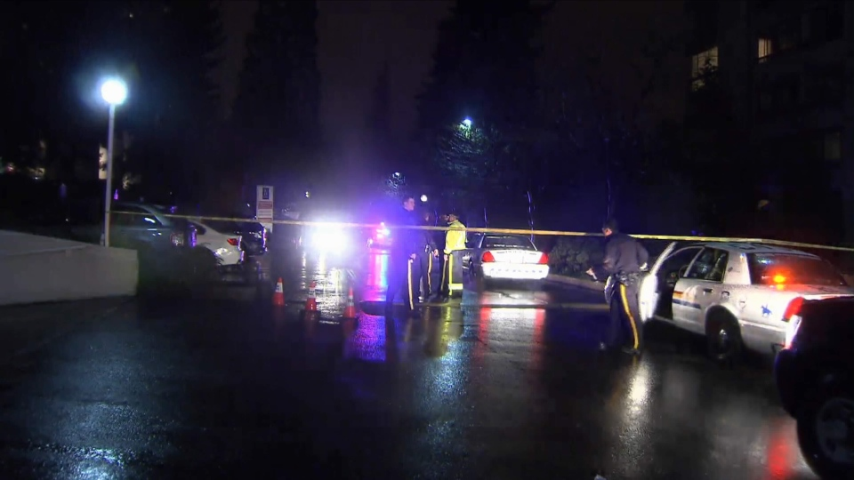Police probe the scene of an RCMP-involved shooting that took place in the 9300-block of Salish Court in Burnaby, Friday, March 20, 2015. (CTV)