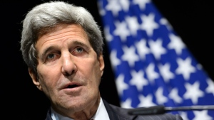 U.S. Secretary of State John Kerry speaks during a press conference after bilateral meetings with Iranian Foreign Minister Mohammad Javad Zarif about Iran's nuclear program , in Lausanne, Switzerland, at the Olympic Museum, Saturday, March 21, 2015. (Keystone, Laurent Gillieron)