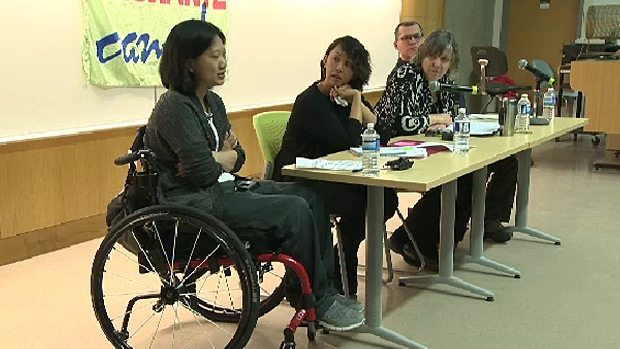 Vicky Vanencio, a temporary foreign worker who was injured in Canada, was part of a panel discussion at the University of Alberta about changes to the program.