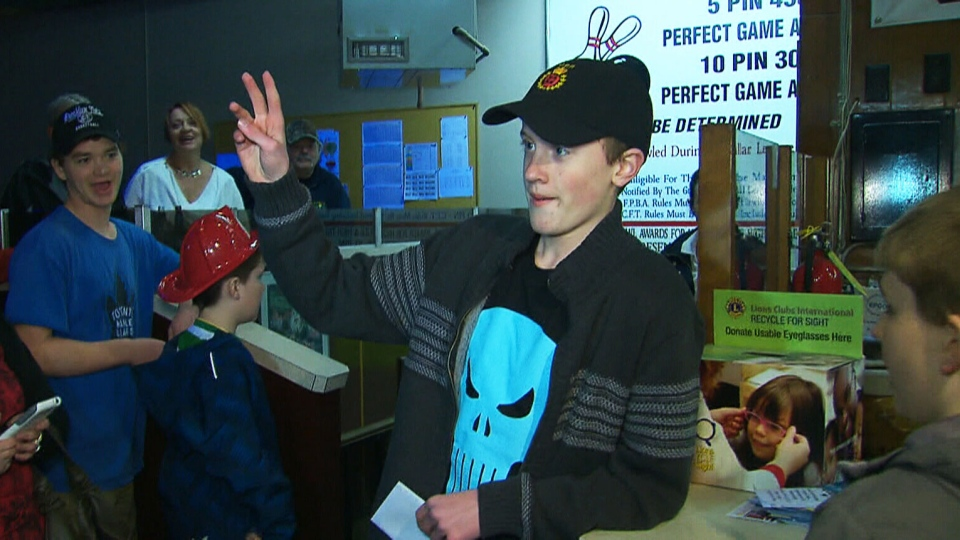 Hundreds of people showed up at the Lakeview Bowl to wish Odin Camus a happy birthday on Friday, March 20, 2015.