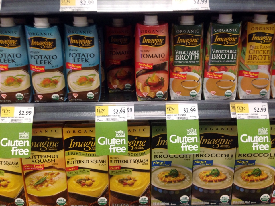 Gluten-free products are seen on a grocery store shelf in Washington in this Friday, Aug. 2, 2013, file photo. (AP / Carole Feldman)