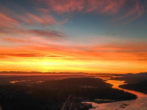 This is probably my favourite photo I've ever taken in Chopper 9. We were busy reporting on a massive apartment fire in Coquitlam but my eyes kept drifting to this incredible sunset, the brightest and most dramatic I've seen in more than a hundred flights in our helicopter. (Penny Daflos/Chopper 9)