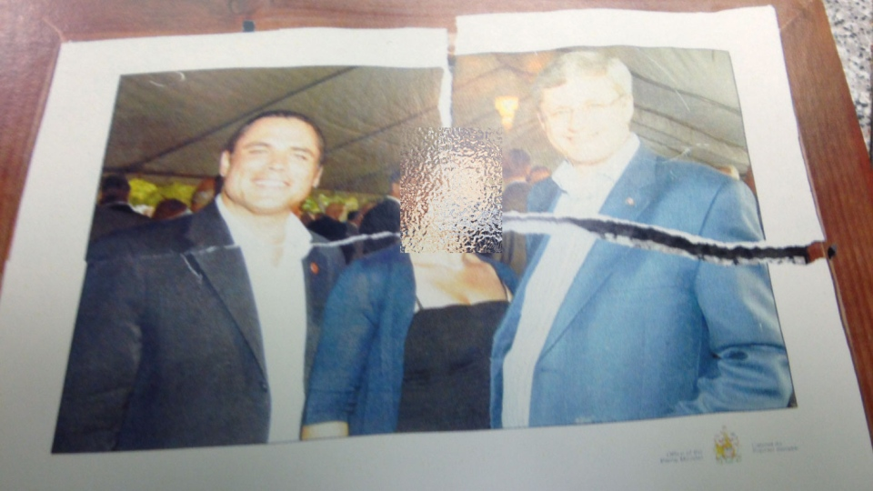A police photo shown at suspended senator Patrick Brazeau's sexual assault trial Monday, March 23, 2015.