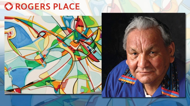 The City of Edmonton has named Alex Janvier as the first artist to have a piece of public art in Rogers Place - a 150 m2 tile mosaic called Tsa tsa ke k'e (Iron Foot Place). Supplied.