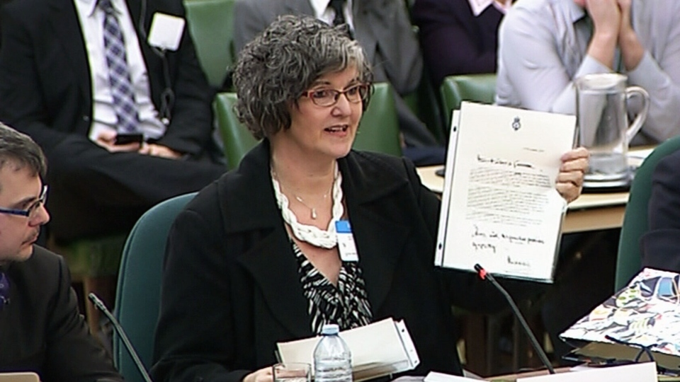 Louise Vincent speaks to a public safety and national security committee about Bill C-51 on Monday, March 23, 2015.