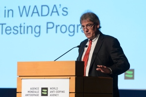 Director General of the WADA David Howman speaks during the World Anti-Doping Agency, WADA, symposium in Lausanne, Switzerland, Tuesday, March 24, 2015. (AP Photo/Keystone, Jean-Christophe Bott)