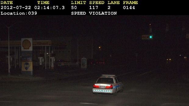 A camera captured a speeding infraction committed by the unidentified driver of a CPS vehicle in 2012 (Calgary Police Service)