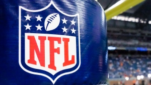 An NFL logo on a goal post padding before a preseason NFL football game in this Aug. 9, 2014 file photo. (AP / Rick Osentoski)