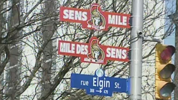 Sens Mile signs will NOT be going up on Elgin Street today, at the request of the Ottawa Senators. March 26, 2015