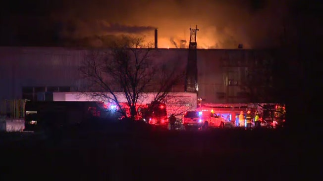 Winnipeg firefighters were on scene Friday morning at a massive overnight blaze in Transcona.