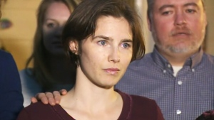 In this file image, Amanda Knox makes a brief statement outside her family home on Friday, March 27, 2015.
