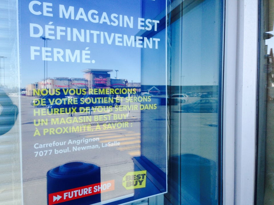 A sign outside a Future Shop in LaSalle confirms the store is closed and directs customers to the nearest Best Buy, which is across the street. (JL Boulch/CTV Montreal)