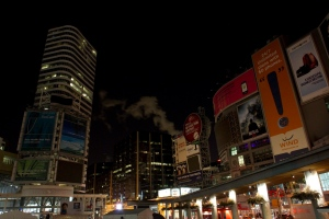 Yonge and Dundas Square in Toronto city centre is pictured shortly before the end of Earth Hour on Saturday March 26, 2011. THE CANADIAN PRESS/Chris Young