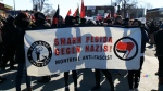 """Protesters rally against a PEGIDA event in Montreal, which planned to take a stand against what it calls the """"Islamification"""" of Quebec. (File Photo)"""