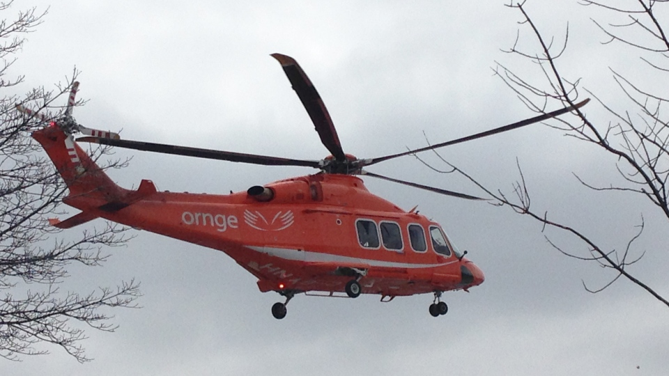 An Ornge air ambulance takes off in Kitchener, Ont., on Saturday, March 28, 2015. (CTV Kitchener)