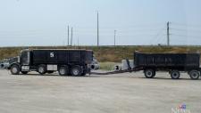 Tractor-trailer on highway