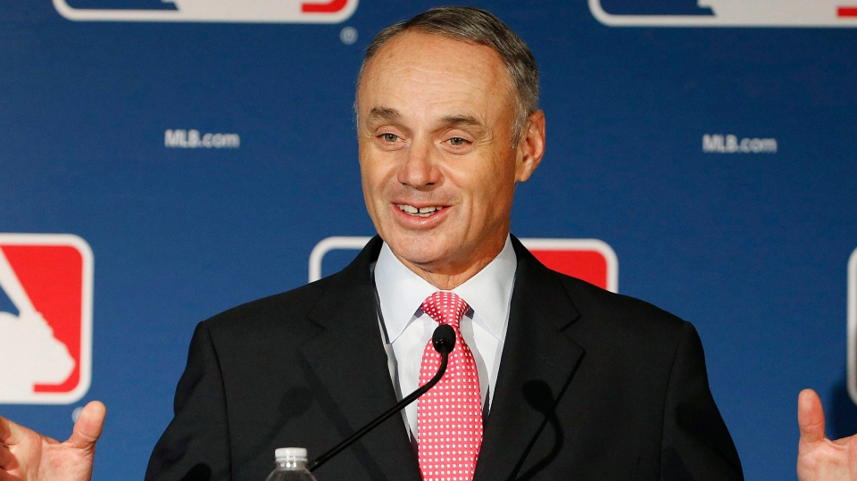 Baseball commissioner Rob Manfred is seen int his
