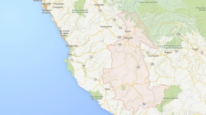 A Google map highlighting the Ayacucho region in Peru. At least 21 people are dead after a bus plunged off a ravine in the area. (Google)