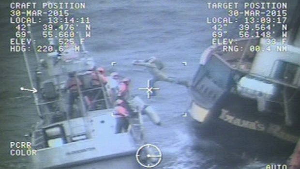 U.S. Coast Guard rescue nine crewmembers from the Canadian tall ship Liana's Ransom, east of Gloucester, on March 30, 2015. (U.S. Coast Guard)