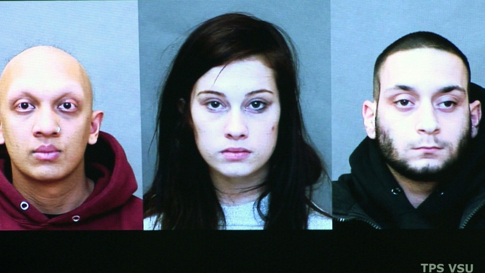 Sage Finestone, Natasha Robataille and Nicholas Faria are shown in this police handout photo. (Toronto Police Service)