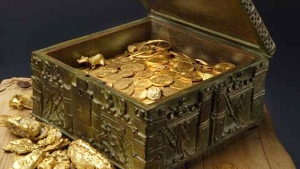 This undated photo provided by Forrest Fenn shows a chest purported to contain gold dust, hundreds of rare gold coins, gold nuggets and other artifacts. (AP / Jeri Clausing)