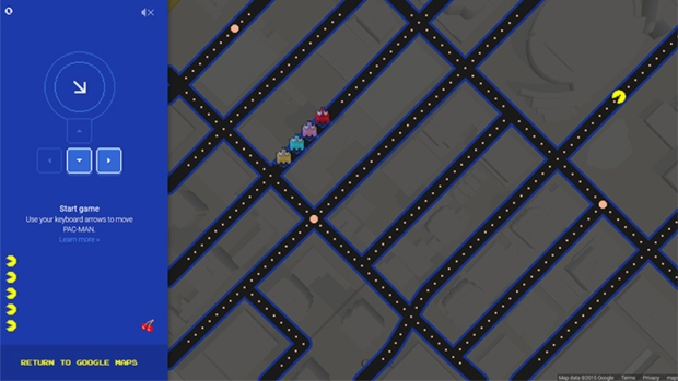 Google Maps Pac-Man game