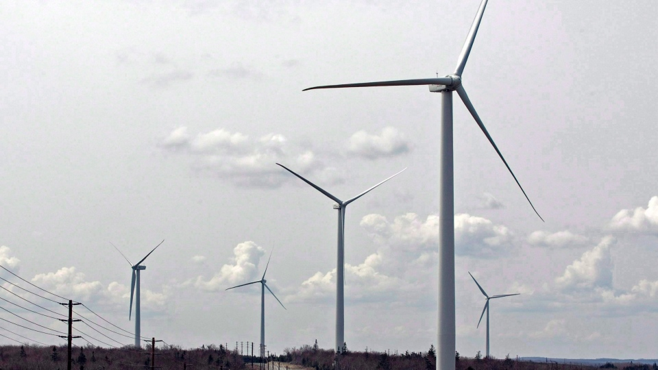 Wind turbines generate power on Dalhousie Mountain, N.S., on April 23, 2010. (The Canadian Press/Andrew Vaughan)