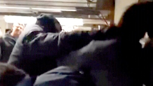 Extended: Transit station brawl caught on camera