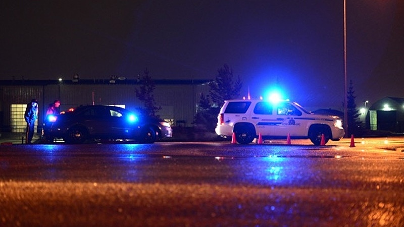 RCMP officers responded to a weapons complaint near the Halliburton facility in Clairmont, Alberta late Tuesday night. Photo: William Vavrek