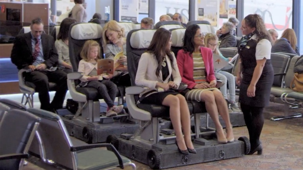 Image from video of the purported WestJet SmartsSeats introduced on April 1, 2015. (YouTube)