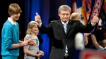 Prime Minister Stephen Harper, his wife Laureen, son Ben and daughter Rachel, in Calgary, Alta., on May 2, 2011. (THE CANADIAN PRESS / Jeff McIntosh)