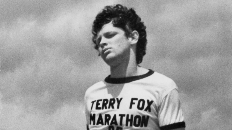 Terry Fox, who lost his right leg to cancer three years earlier, was forced to stop his cross-Canada marathon to raise funds for cancer research in Thunder Bay, Ont., Sept. 2, 1980, when he was told caner has been found growing in his lungs. (THE CANADIAN PRESS)