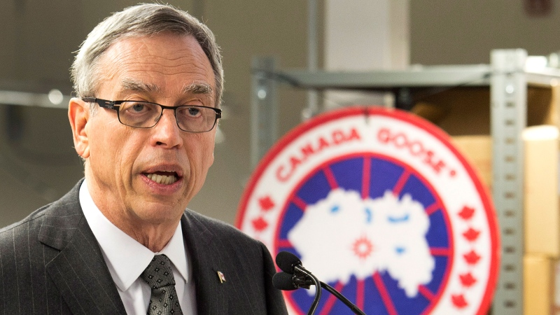 Finance Minister Joe Oliver speaks to the media at the Canada Goose factory while announcing the date of the federal budget in Toronto on Thursday, April 2, 2015. (Nathan Denette / THE CANADIAN PRESS)