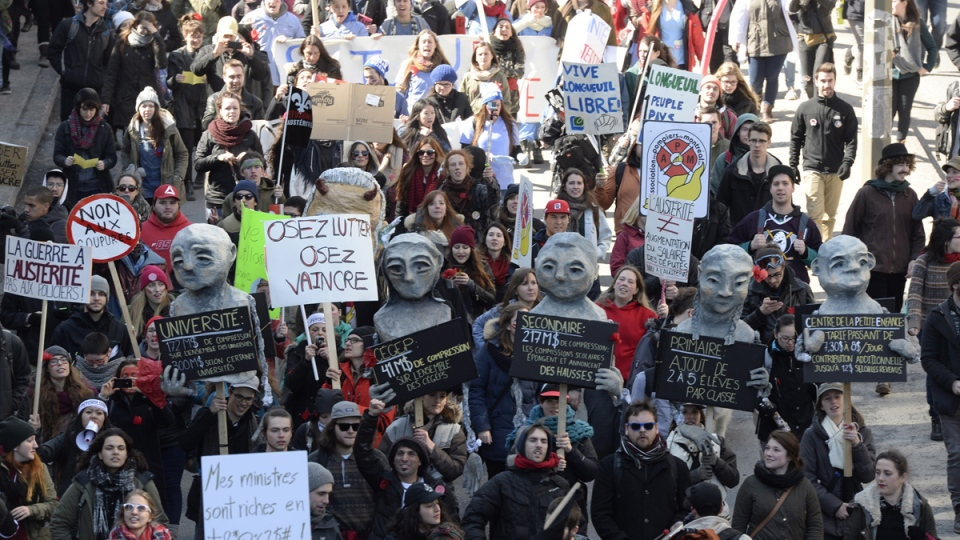 Students demonstrate against austerity measures and government cuts at a protest in Montreal on Thursday, April 2, 2015. (Paul Chiasson / THE CANADIAN PRESS)