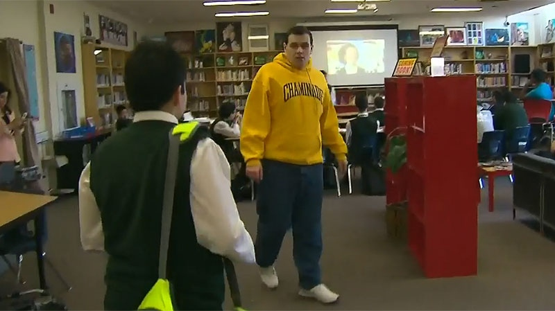 Jake Bodanis, 22, is living with autism and when he graduated last year his parents were unsure what would be in store for his future. A volunteer job at the school library has led to fruitful employment.