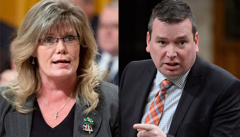Minister of International Development Christian Paradis and Heritage Minister Shelly Glover are seen in this compilation photo. (Adrian Wyld / THE CANADIAN PRESS)