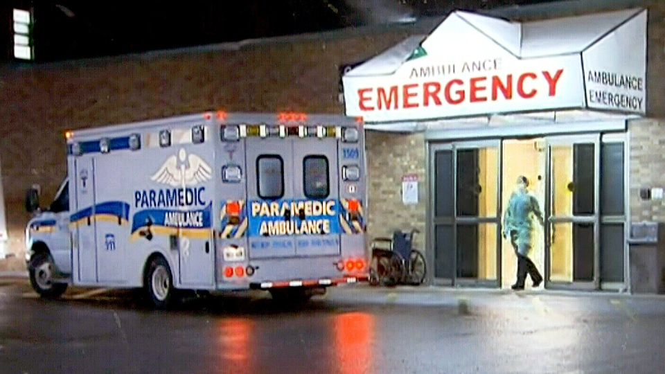 A patient with symptoms doctors believe could be Ebola was transferred to Sunnybrook Health Sciences Centre in Toronto as a precaution on Saturday, April 4, 2015.