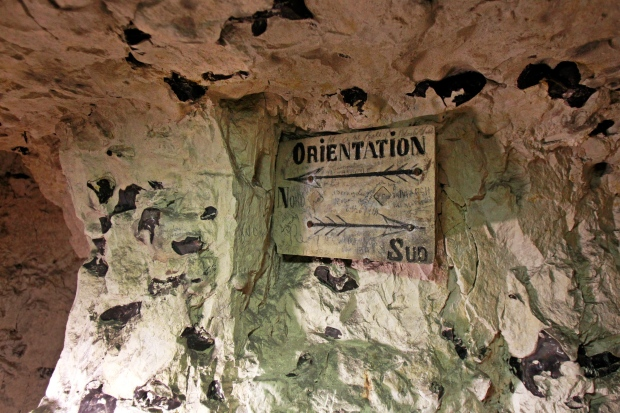 WWI signatures in chalk quarry in Naours, France