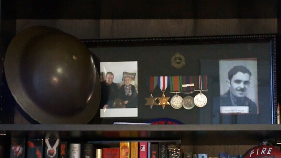 Former soldier George Johnston's war memorabilia is shown at the home of history buff Jordan Chiasson.