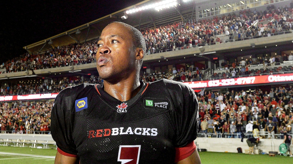 Ottawa Redblacks Henry Burris looks on after the end of CFL action at TD Place in Ottawa on July 18, 2014. (Justin Tang / THE CANADIAN PRESS)