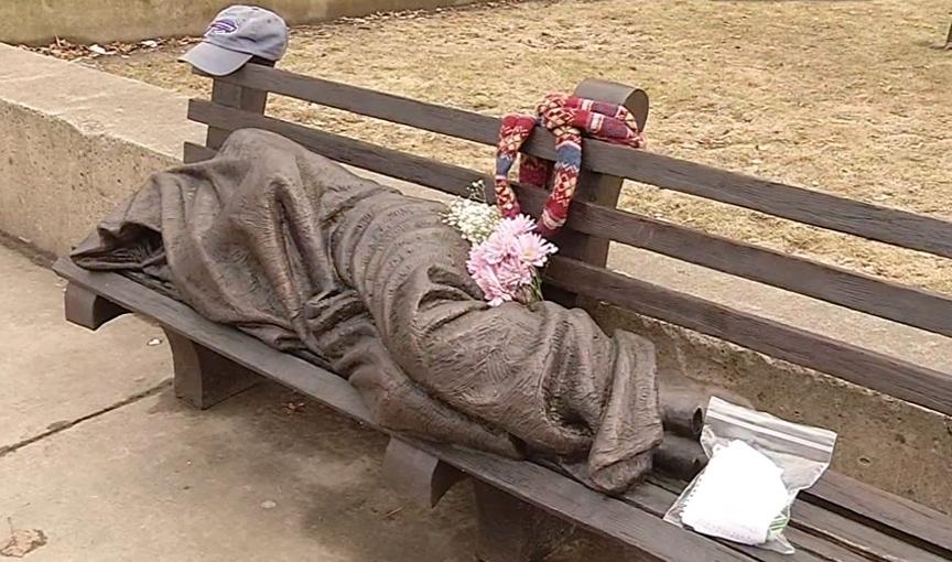 Homeless Jesus statue in Buffalo
