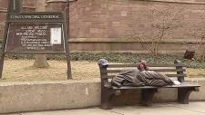Homeless Jesus sculpture in Buffalo, N.Y.