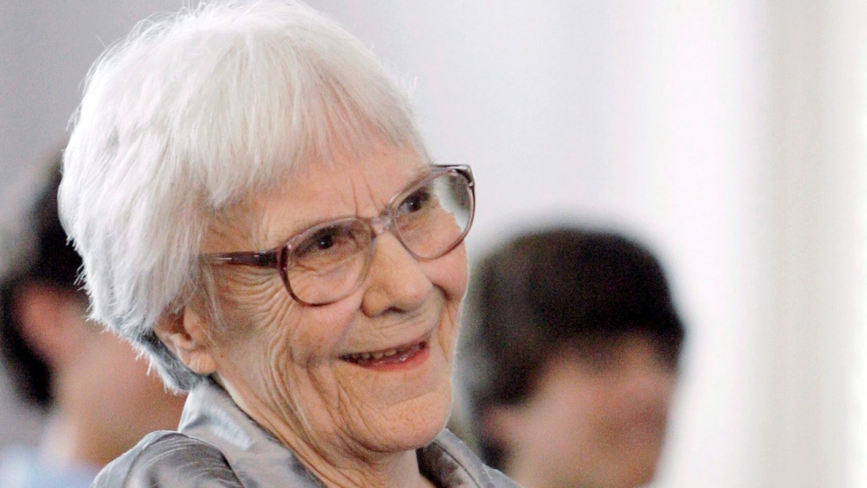 Author Harper Lee smiles during a ceremony honoring the four new members of the Alabama Academy of Honor, at the state Capitol in Montgomery, Ala., Aug. 20, 2007. (AP / Rob Carr, File)