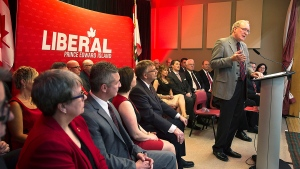 Prince Edward Island Premier Wade MacLauchlan addresses the crowd at his nomination meeting in West Covehead, P.E.I. on Monday, April 6, 2015. (Andrew Vaughan / THE CANADIAN PRESS)