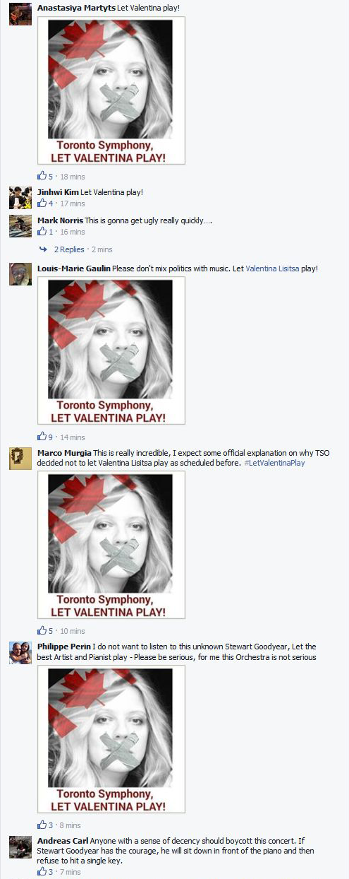 A screenshot of comments left on the Toronto Symphony Orchestra's Facebook page.